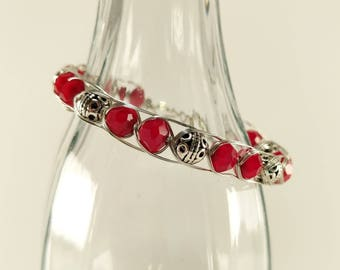 Red and silver bead woven wire bracelet