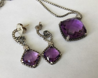David Yurman earrings with necklace