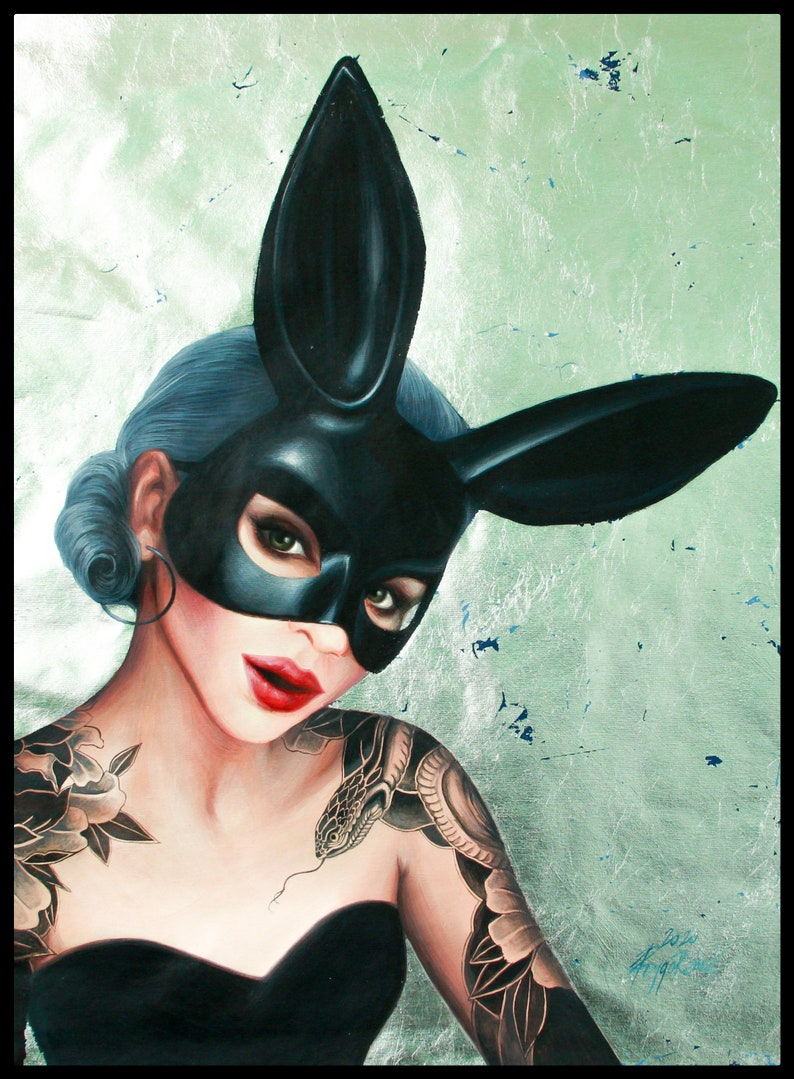 Playboy bunny woman painting 3525 in Original hand-painted