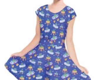 Alien Dress UFO Kids Dress Aliens Girls Dress Childrens ****MTO, Month*****