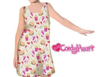 Burger Dress Kids Fast Food Dress Junk Food Girls Dress Fries Soda Burgers Childrens McDonalds *****MTO, Month****