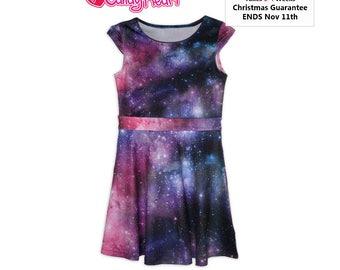 Galaxy Dress Kids Size Galaxy Dress Girls Space Dress Universe Outer Space Stars Children ****MTO, Month*****