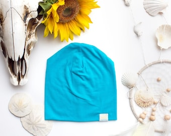 Turquoise Slouchy Bamboo Beanie