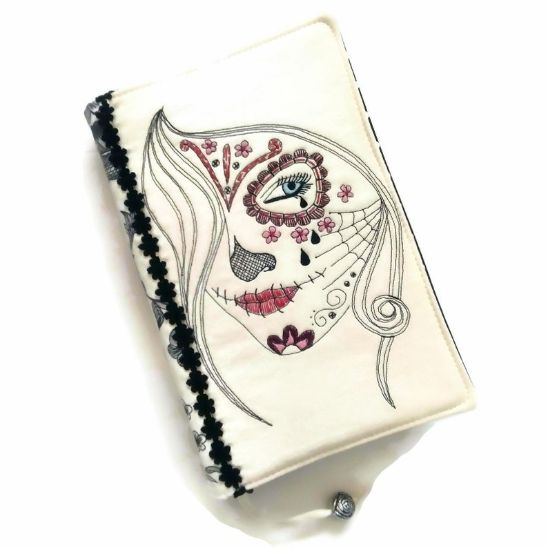 Sugar Skull Crying Woman Face Embroidered Handmade Book Cover image 0