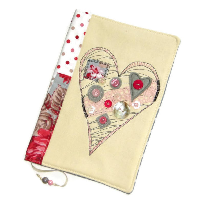 Handmade Fabric Book Cover Heart Embroidery Diary Cover image 0