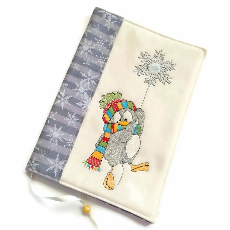 Fabric Diary Cover Penguin Handmade Embroidery Travel image 0