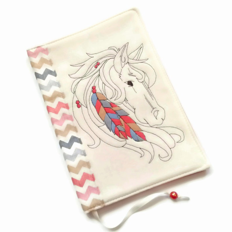 A5 Travel Journal Fabric Book Cover Hand Embroidery Wild image 0