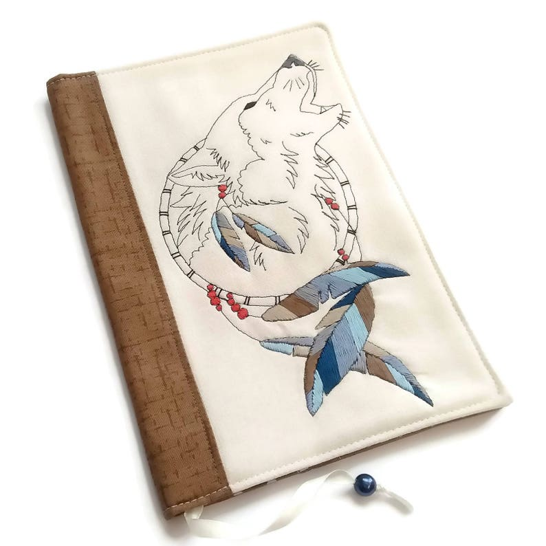 Fabric Book Cover Travel Journal Wolf Hand Embroidery image 0