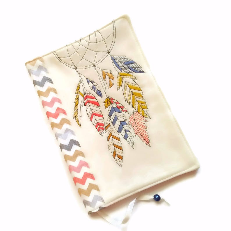 Dreamcatcher Book Cover Travel Journal Diary Cover Fabric image 0