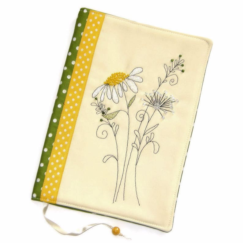 Handmade Book Cover Floral Travel Journal Daisy Hand image 0