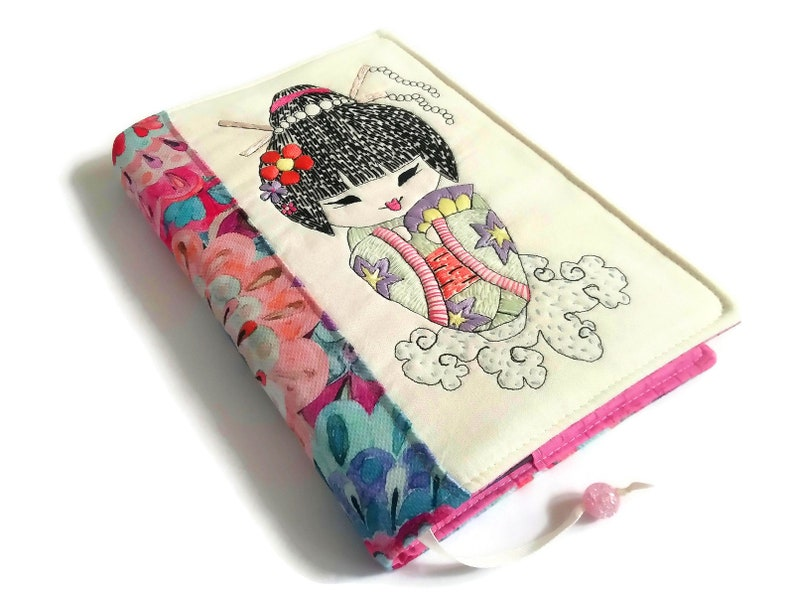 Kimono Girl Diary Cover Handmade Fabric Book Cover A5 Travel image 0