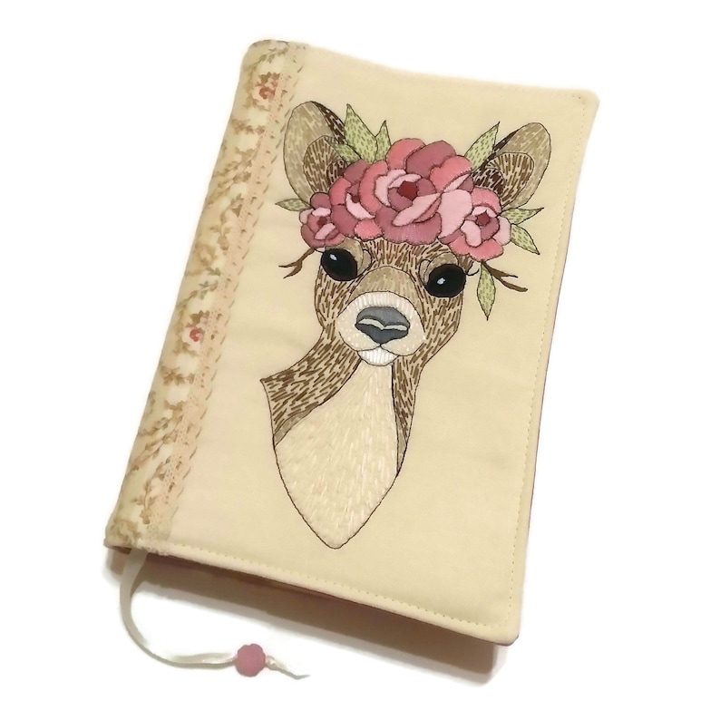 Deer Diary Cover Travel Journal Fabric Book Cover Romantic image 0