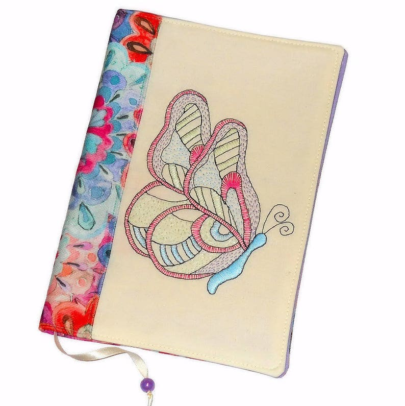 Butterfly Fabric Book Cover Reusable Travel Journal image 0