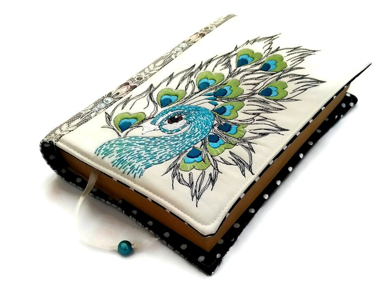 Peacock Fabric Book Cover Handmade Diary Cover A5 Travel image 0