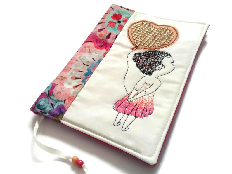 Romantic Diary Cover Fabric A5 Traveler Journal Cute Girl Hand image 0