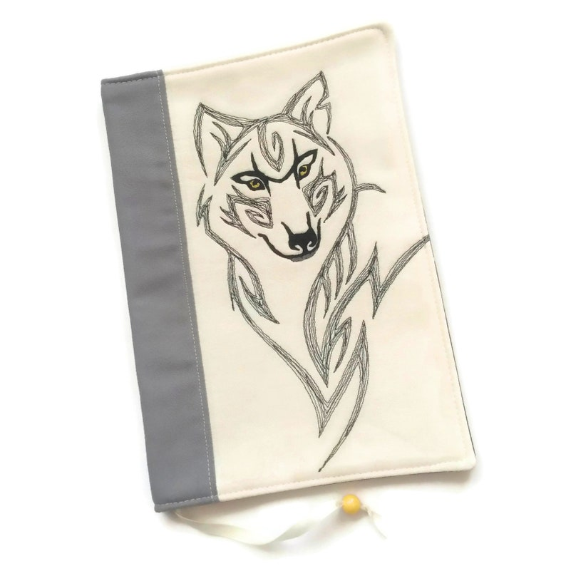Wild Wolf Book Cover Gray Reusable Notebook Case Gift for Him image 0