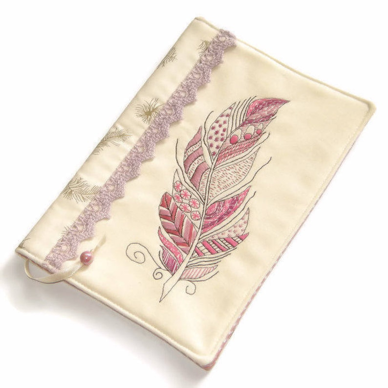 Feather Fabric Book Cover Travel Journal Pink Diary Cover image 0