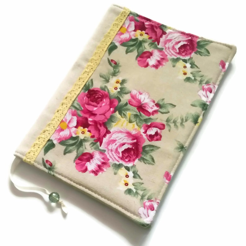 Fabric Book Cover Pink Roses Bible Cover Diary Cover image 0