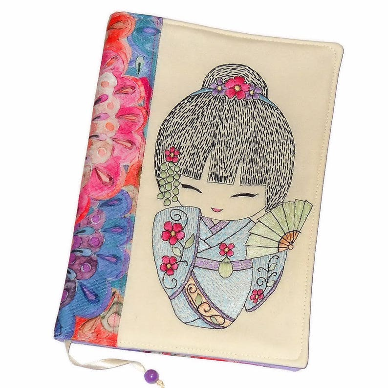 Handmade Fabric Book Cover Reusable Notebook Case Diary image 0