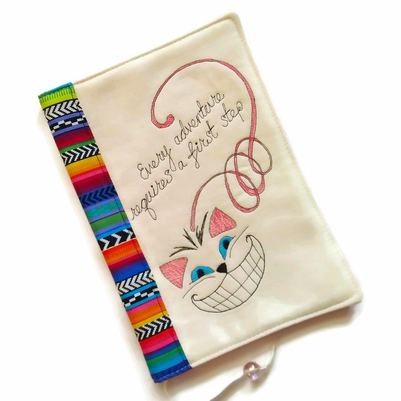 Cheshire Cat Fabric Book Cover Travel Journal Cover Alice in image 0