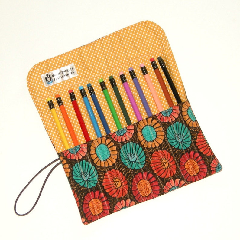 Travel Pencil Roll Case Pencil Holder Coloring Organizer image 0