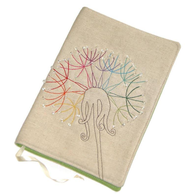 Rainbow Dandelion Fabric Book Cover Handmade Bible Cover image 0
