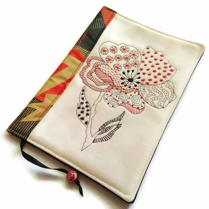 Poppy Fabric Book Cover Hand Embroidery A5 Travel Journal image 0