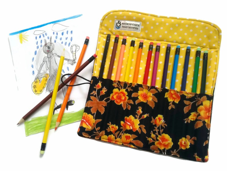 Rose Pencil Roll Yellow Travel Pencil Pouch Pencil Wrap image 0