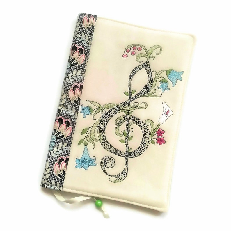 Treble Clef Diary Cover Handmade Fabric Book Cover A5 Travel image 0