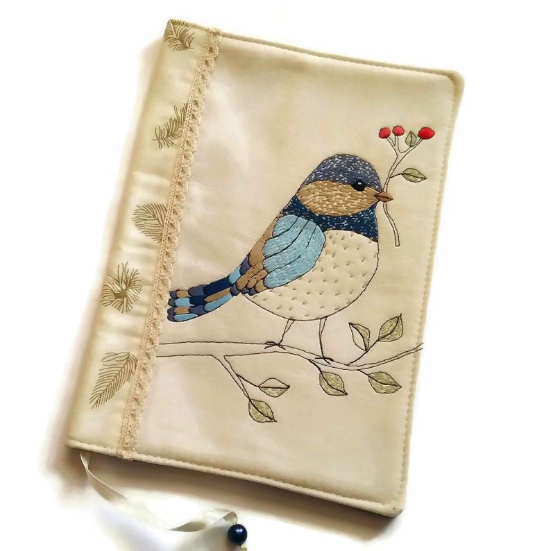 Blue Bird Book Cover Handmade Fabric Diary Cover Travel image 0
