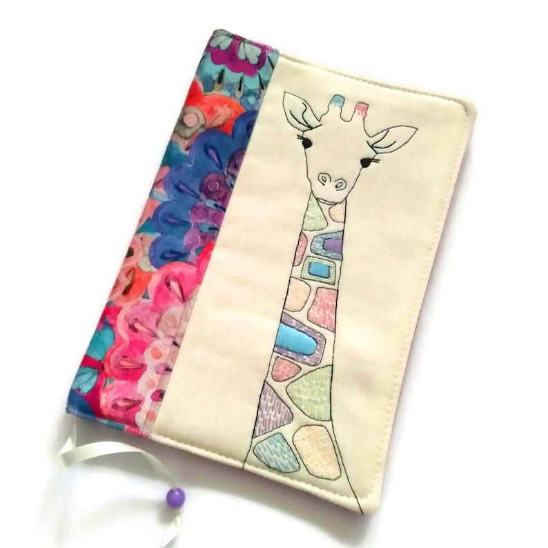 Giraffe Diary Cover A5 Travel Journal Handmade Fabric Book image 0