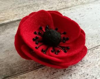 Felt poppy brooch, red poppy brooch, red flower brooch, Remembrance Day poppy wool felt pin, Felt poppy brooch, wool felt poppy - 1 brooch