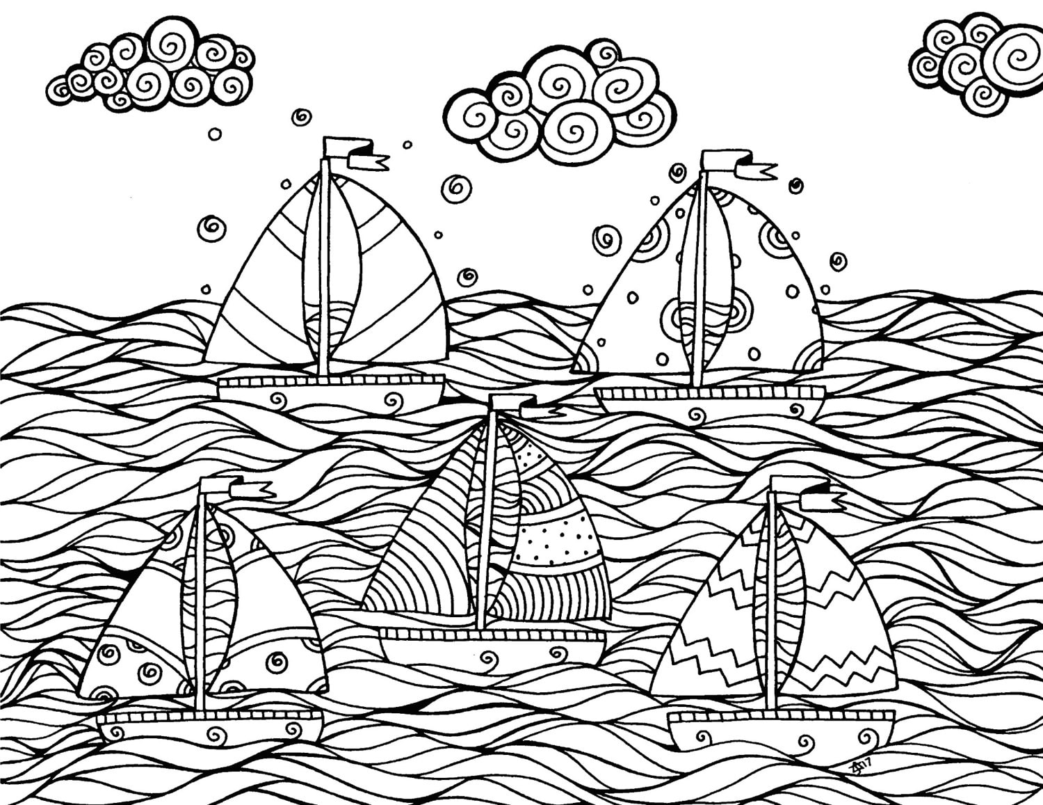 Sailboats Nautical Adult Coloring Page Instant Download