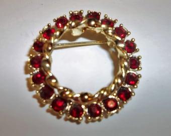 Vintage Gerrys Red Rhinestone Brooch