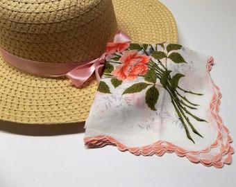 Vintage Handkerchief Coral Floral Spray