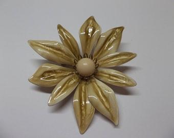 Large Vintage Enamel Flower Brooch Tan/ Taupe