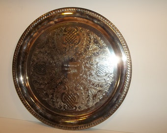 Large Silverplated Engraved Tray Sheridan