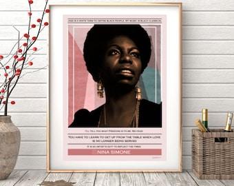 Nina Simone ref.02 - Collage, quote, music, soul, jazz, interior design, illustration, vintage, print, home decor, poster, elegant-