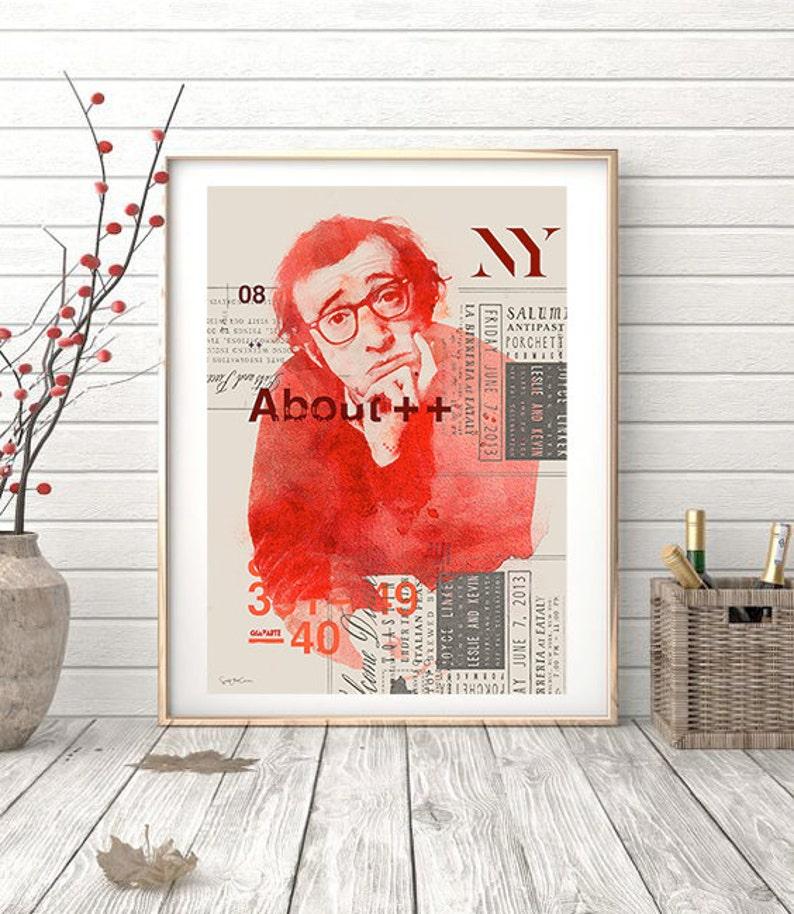 illustration home decor vintage elegant- Collage print filmmaker actor interior design poster Woody Allen ref.02 comedian
