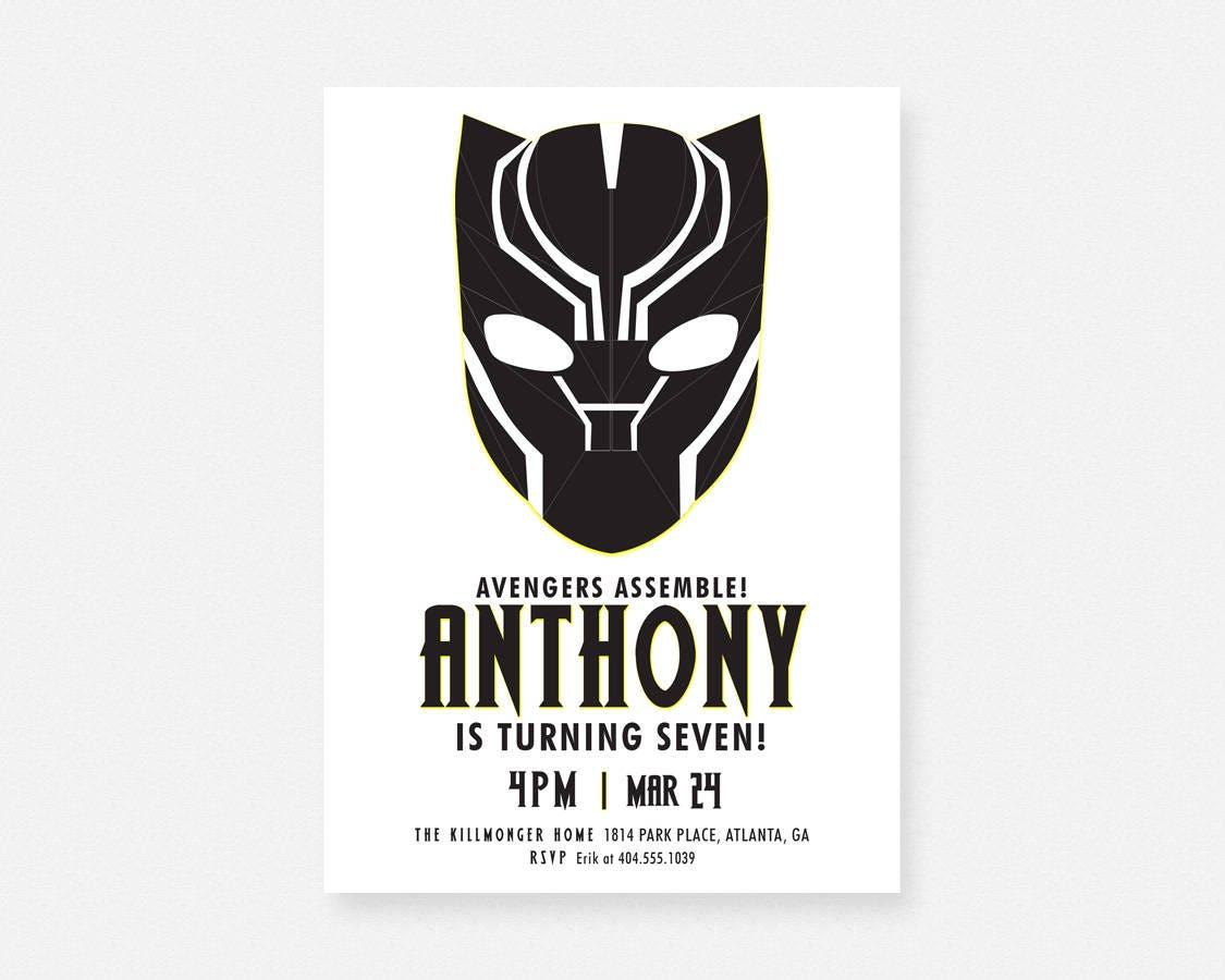 Panther Avenger Black Superhero Birthday Party Invitation | Etsy