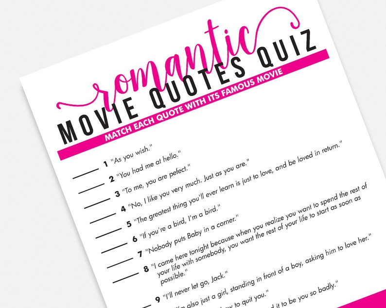 af90269255be Romantic Movie Quotes Quiz Printable Party Game - Instant Download Pink  Bridal S... Romantic Movie Quotes Quiz Printable Party Game - Instant  Download Pink ...