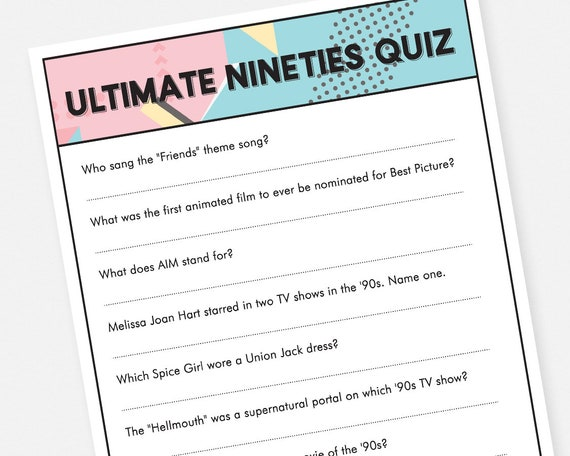 photograph regarding Printable Trivia Questions named 90s Trivia Quiz Printable Get together Video game - Fast Down load Bridal Shower Bachelorette Bash Activity