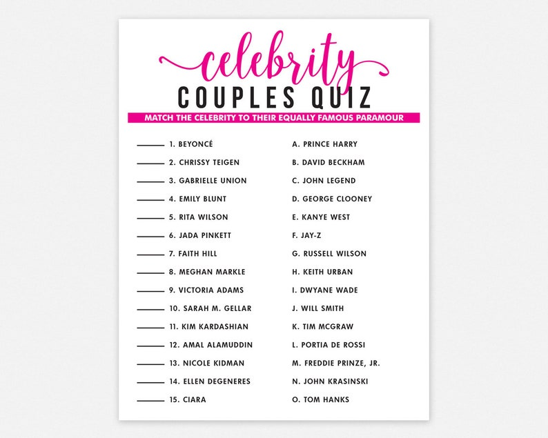 Celebrity Couples Quiz Printable Match Game Party Game | Etsy