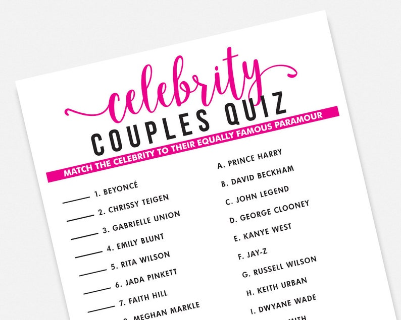 photograph relating to 90s Trivia Questions and Answers Printable known as Celeb Partners Quiz Printable Game Activity Get together Match - Instantaneous Down load Purple Bridal Shower Bachelorette Bash Recreation
