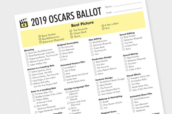 picture about Oscar Ballots Printable titled Oscars Ballot 2019 Printable