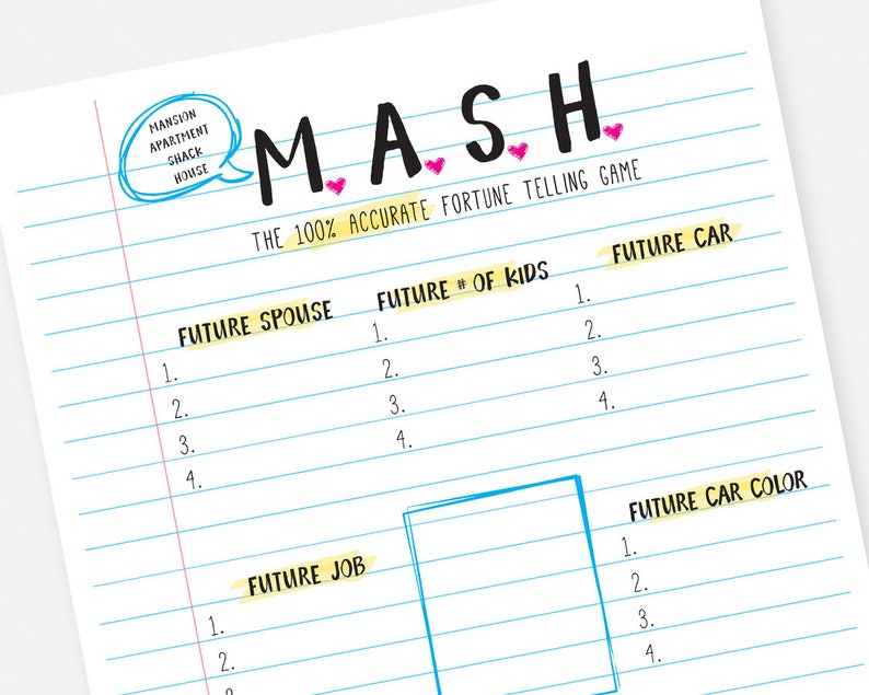 image regarding Printable Party referred to as MASH Printable Bash Match - Fast Obtain Bridal Shower Sleepver Sleep Celebration Bachelorette Sport
