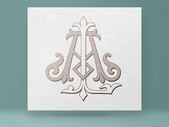 Monogram Al La Wedding Monogram Vintage Monogram Etsy