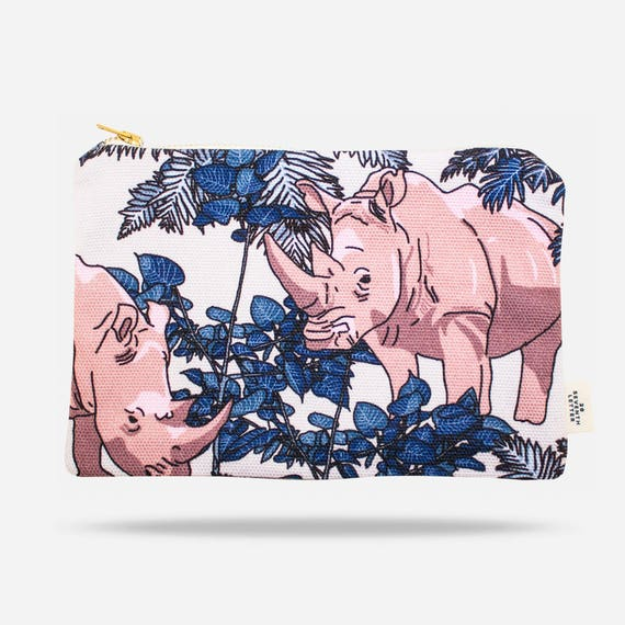 Rhino Make Up Bag     Animal Cosmetic Bag     Botanical Print Travel Bag