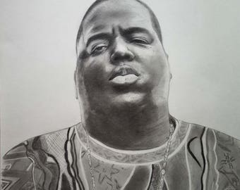 The Notorious B.I.G. Original pencil drawing A2, Biggie Smalls portrait, Realistic pencil and charcoal drawing,