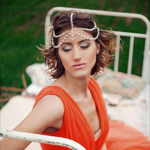 Bridal head jewelry Boho bridal headpiece Tikka Headpiece | Etsy